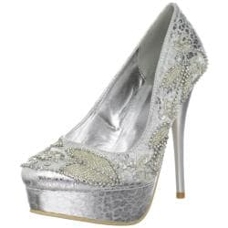 Celeste Women's 'Succi-05' Silver Beaded Pumps