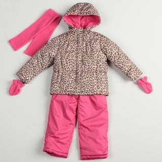 Carters Girl's Pink Cheetah Snow Suit Set