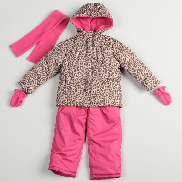 Carters Girl's Pink Cheetah Snow Suit Set