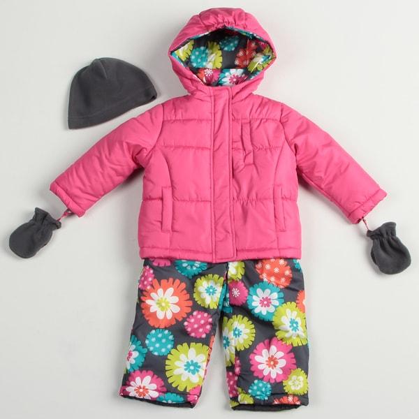 Carters Toddler Girl's Fuschia Snowsuit Set