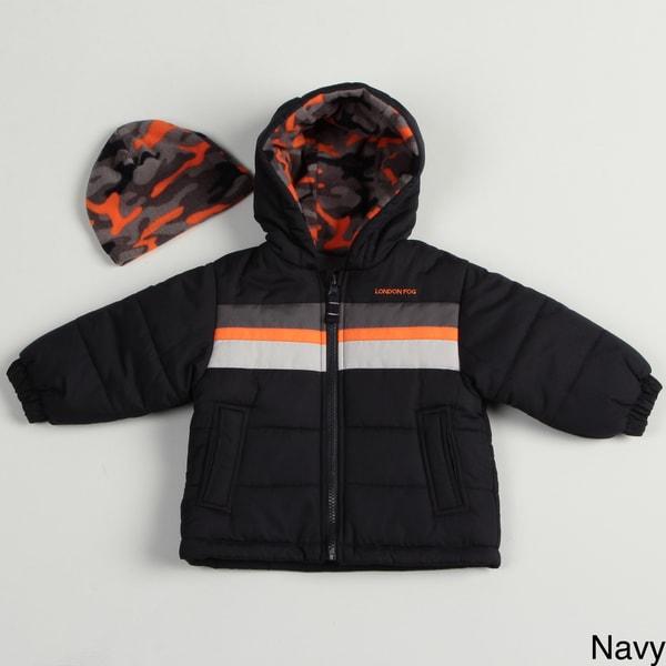 London Fog Infant Boy's Bubble Jacket and Hat Set