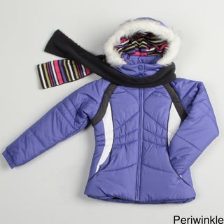 London Fog Girl's Colorblock Jacket and Scarf Set