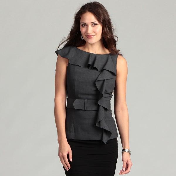 Calvin Klein Women's Charcoal Belted Top