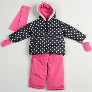 Carters Girl's Black/ Berrylicious Snowsuit Set