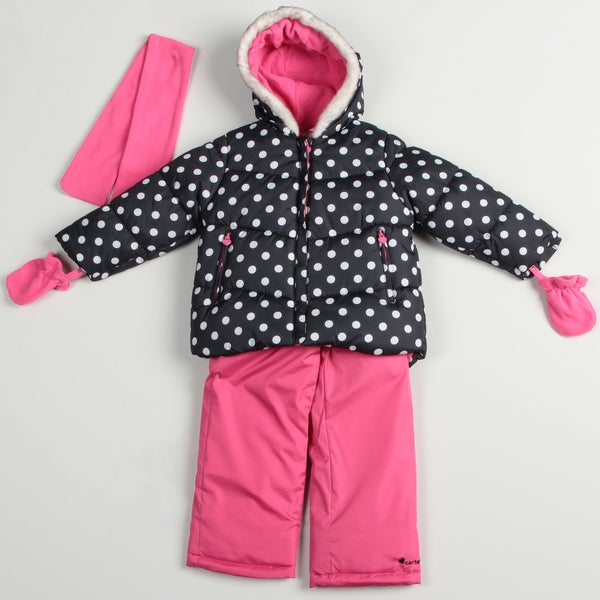 Carters Girl's Black/ Berrylicious Snowsuit Set