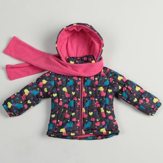London Fog Toddler Girl's Heart Print Coat and Scarf