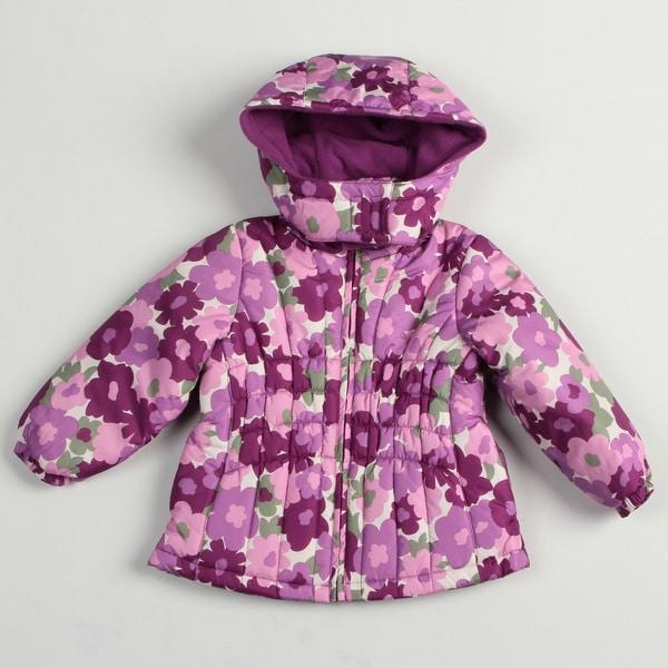 Osh Kosh Girl's Lilac Floral Bubble Jacket