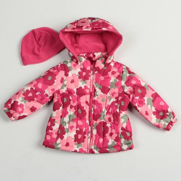 Osh Kosh Toddler Girl's Pink Floral Bubble Jacket