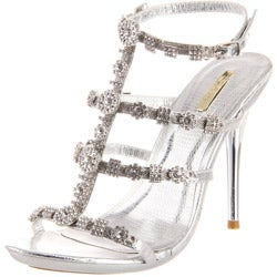 Celeste Women's 'Ocean-12' Silver Rhinestone Stilettos