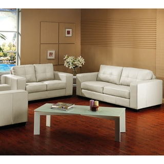 Whitney Modern Ivory Leather Sofa and Loveseat Set