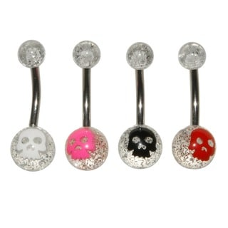 Surgical Steel Ghost Face Glitter Banana Belly Rings (Set of 4)