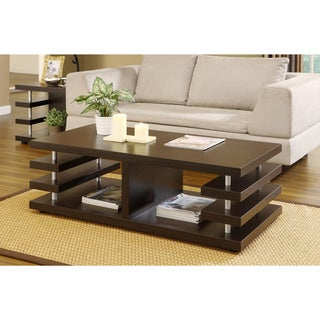 Architectural Inspired Dark Espresso Coffee Table