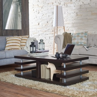Furniture of America Architectural Inspired Dark Espresso Coffee Table