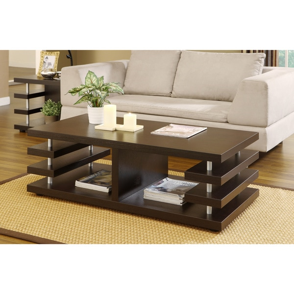 Furniture Of America Architectural Inspired Dark Espresso Coffee Table Overstock Shopping