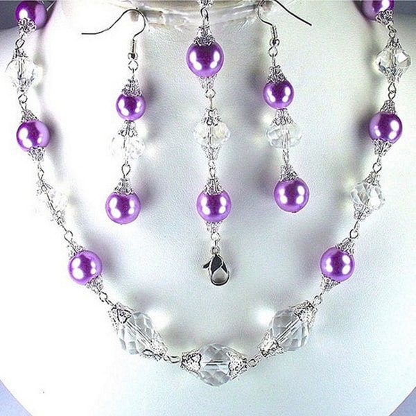 Lilac Pearls and Clear Crystals Jewelry Set