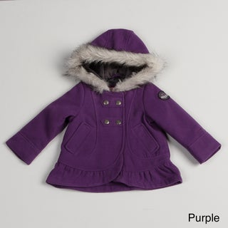 London Fog Toddler Girls' Ruffle Trim Peacoat
