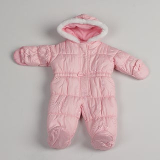 London Fog Newborn Girl's Pink Faux-fur Snow Suit FINAL SALE