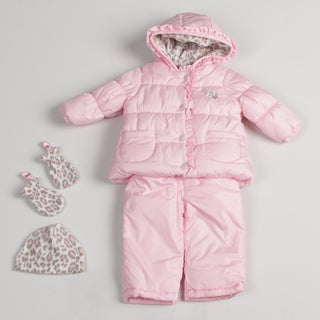 Carters Infant Girl's Pink Ruffle Trim Snowsuit