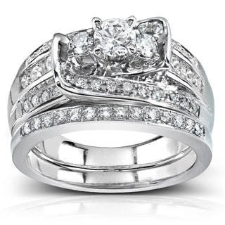 Annello 14k White Gold 1 1/10ct TDW Diamond Bridal Rings Set (G-H I1-I2)