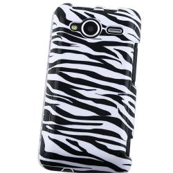 INSTEN White/ Black Zebra Snap-on Phone Case Cover for HTC EVO Shift 4