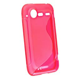 INSTEN Frost Pink S Shape TPU Rubber Phone Case Cover for HTC Droid Incredible 2