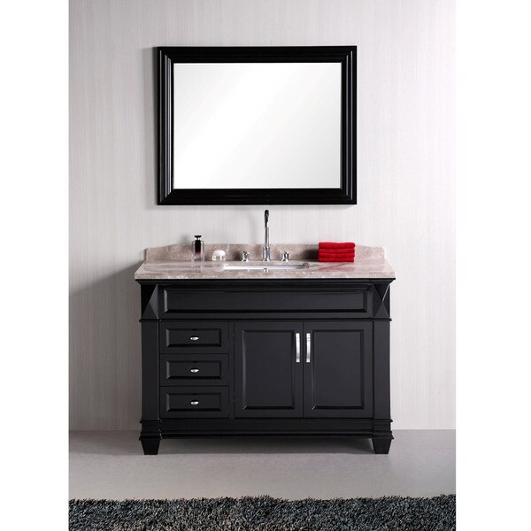 Design Element Hudson 48 Inch Single Sink Marble Top Bathroom Vanity Set 14
