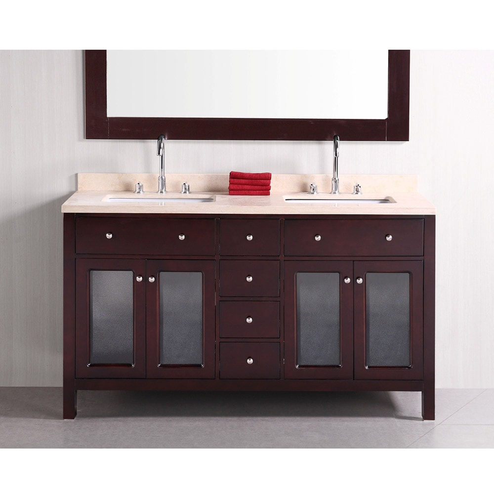 Design Element Venetian 60-inch Double Sink Bathroom Vanity - 14263821 ...