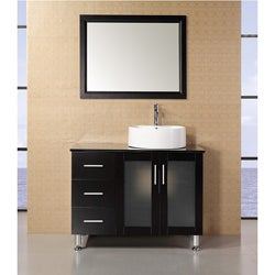 Design Element Malibu 39-inch Single Sink Espresso Finish Bathroom Vanity Set