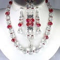 Light Siam Red and Clear Crystal Jewelry Set