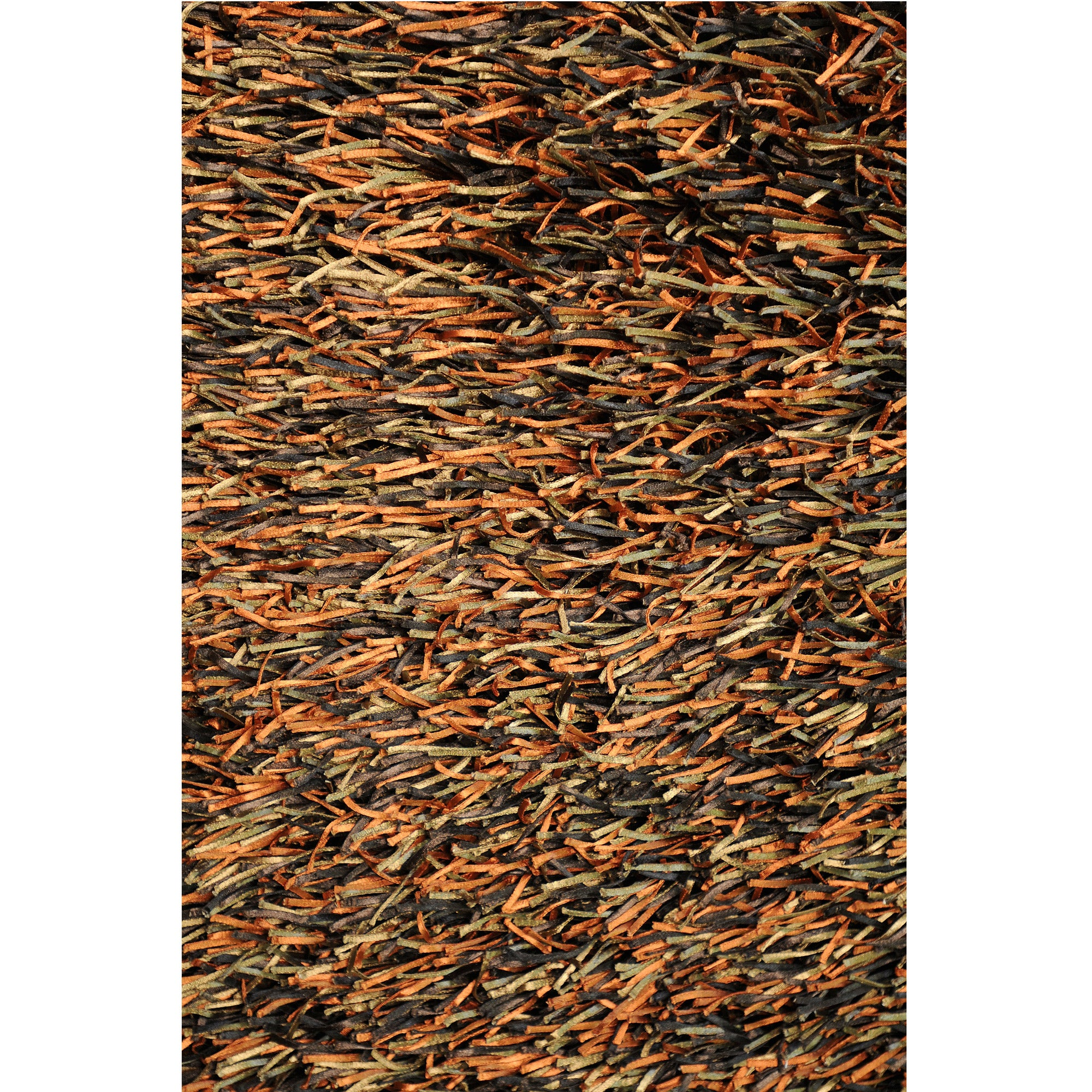 Hand-tufted Tilton Brown/ Burnt Orange Shag Rug (5' x 7'6)