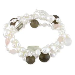 Miadora Rose/ White Quartz, Grey Agate and FW Pearl Bracelet (4-8.5 mm)