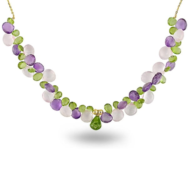 Miadora 14k Yellow Gold 65ct TGW Multi-gemstone Bead 18-inch Necklace