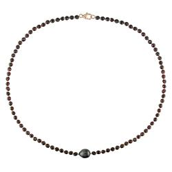 Black Tahitian Pearl and Garnet Bead 18-inch Necklace (9-10 mm)