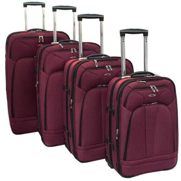 Kemyer Purple Berry 4-piece Expandable Upright Luggage Set