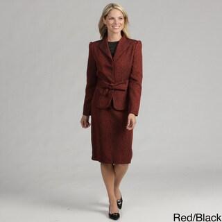 Danillo Women's Camel/ Brown Bow Front Skirt Suit FINAL SALE