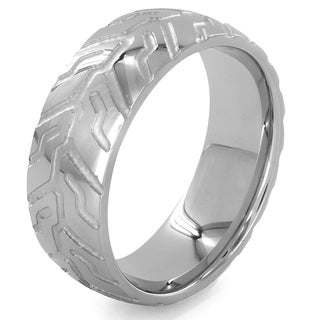 Stainless Steel Geometric Pattern Ring