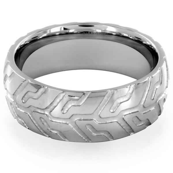 Stainless Steel Geometric Pattern Ring