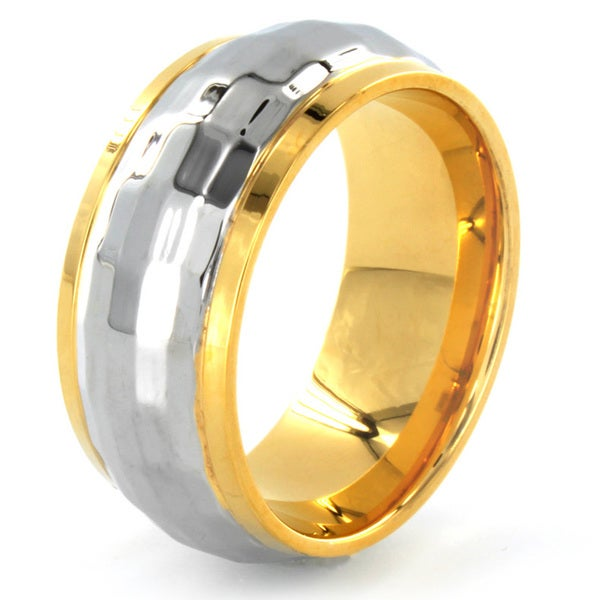Two-tone Stainless Steel Polished Faceted Ring