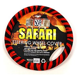 Safari Red and Black Zebra Steering Wheel Cover