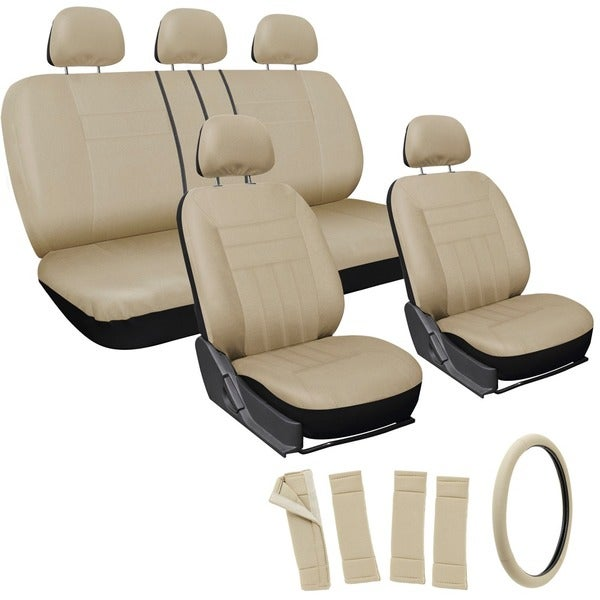 Oxgord All Beige / Tan 17-piece Car Seat Cover Automotive Set