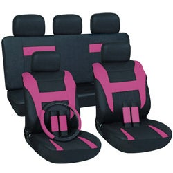 Pink 17-piece Car Seat Cover Automotive Set