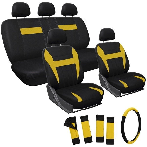 Oxgord Yellow 17-piece Car Seat Cover Automotive Set
