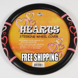 Pink Hearts Rubberized Steering Wheel Cover