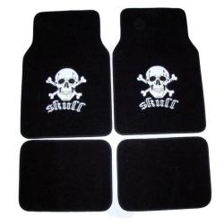 White Skull 4-piece Carpet Floor Mats