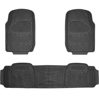 BDK Diamond 3-piece Black Heavy Duty Rubber Car Floor Mat Set