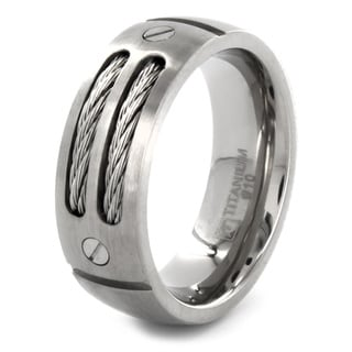 Titanium Dual Cable Domed Ring