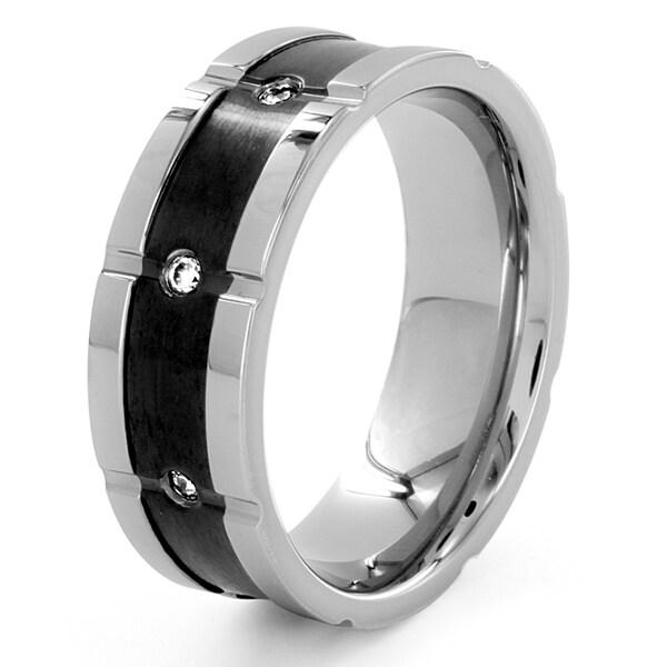 Titanium Cubic Zirconia Black Center Ring