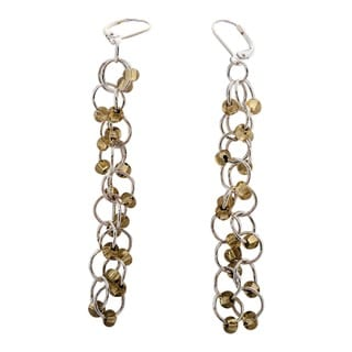 Silver Lined Gold Czech Chain Maille Earrings