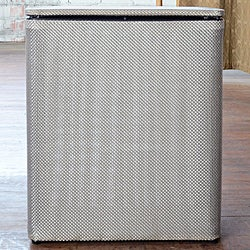 Silver Basketweave Upright Hamper 1530