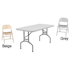 NPS 60-Inch Steel/Plastic Rectangular Table and Folding Chairs Set
